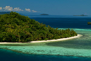 Island and village of Friwen, just off Gam Island, West Papua. Indonesia. - Tim  Laman