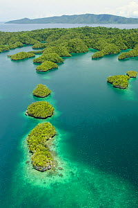 Aerial view of islands and peninsulas of Gam Island, projecting into Gam Bay.  Raja Ampat Islands, West Papua, Indonesia. - Tim  Laman