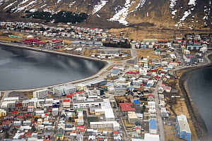 Aerial view of Isafjordur, Westfjords, Iceland. April  -  Terry  Whittaker