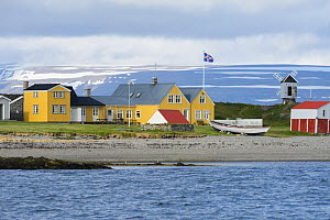 View of coastal buildings on Vigur Island, Westfjords, Iceland. July 2015.  -  Terry  Whittaker