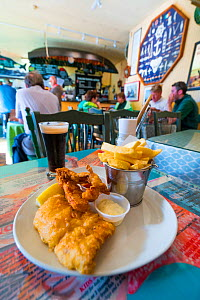 Plate of fish and chips in  restaurant, Dingle Village, Dingle Peninsula, County Kerry, Ireland, Europe. September 2015.  -  Juan  Carlos Munoz
