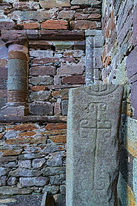 Carved stone in Kilmalkedar Monastery, Dingle Peninsula, County Kerry, Ireland, Europe. September.  -  Juan  Carlos Munoz