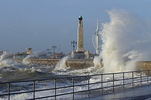Stormy South sea in harbour, Hampshire, England, UK. January 2014.  -  Peter  Lewis