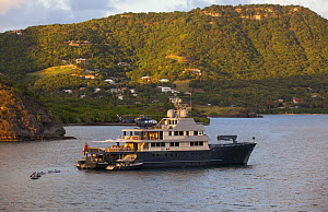 Superyacht with helicopter pad at Antigua Charter Boat Show, December 2012.  -  Billy  Black