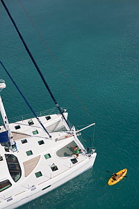 Aerial view of catamaran Ocean's 7 from Motu, Antigua, December 2007.  -  Billy  Black