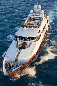 Aerial view of the yacht Glaze 161-foot Trinity in Miami, Florida, USA, March 2011.  -  Billy  Black