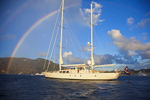 Galileo yacht with rainbow in St. Barts Island, West Indies. March 2012.  -  Billy  Black