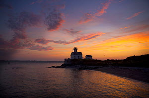Scenic of Rose Island Lighthouse at sunset, Rhode Island, USA. June 2012.  -  Billy  Black