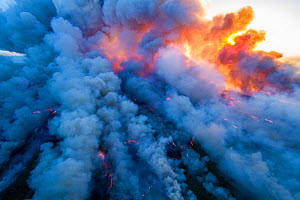 Aerial view of smoke in controlled burn, Everglades National Park, Florida. May 2011.  -  Huw Cordey