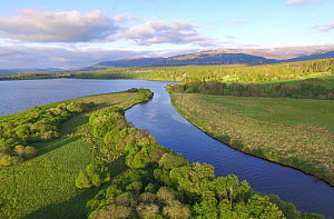 Aerial view over Insh Marshes National Nature Reserve, Cairngorms National Park, Scotland, UK, May 2016. - SCOTLAND: The Big Picture