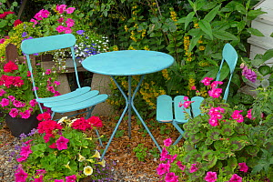 Cottage garden with container planting and blue table and chairs - Ernie  Janes