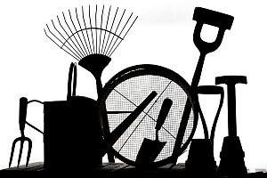 RF- Gardening tools silhouetted on white background. (This image may be licensed either as rights managed or royalty free.) - Ernie  Janes