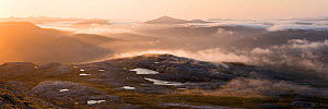 A misty panorama from Meall a Ghiubhais overlooking Lunar Loch at sunrise. Torridon, Scotland, UK, June 2016. - SCOTLAND: The Big Picture