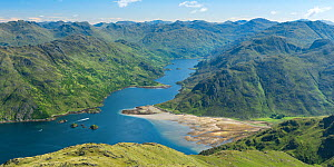 Loch Hourn and Barrisdale Bay in Mid Summer with blue skies. Knoydart, Scotland, UK, June 2016.  -  SCOTLAND: The Big Picture