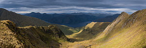 Panorama of Li and Coire Dhorrcial on Ladar Beinn under stormy skies. Knoydart, Scotland, UK, June 2016.  -  SCOTLAND: The Big Picture