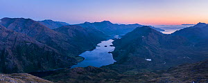 Panorama at dusk of the Knoydart peninsula with Ladar Bheinn in the distance. Knoydart, Highlands, Scotland, UK, June 2016.  -  SCOTLAND: The Big Picture