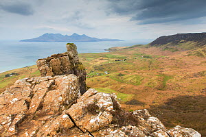View over Cleadale, Isle of Eigg towards Rum, Inner Hebrides, Scotland, UK, April 2014. - SCOTLAND: The Big Picture