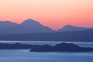 View from Isle of Skye across Sound of Raasay to Rona and Torridon Hills, at dawn, Inner Hebrides, Scotland, UK, April 2014. - SCOTLAND: The Big Picture