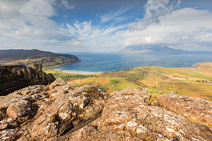 View over Cleadale, Isle of Eigg towards Isle of Rum, Inner Hebrides, Scotland, UK, April 2014. - SCOTLAND: The Big Picture