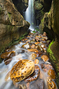 Cascading waterfall in coastal gorge, Isle of Eigg, Inner Hebrides, Scotland, UK, April 2014. - SCOTLAND: The Big Picture