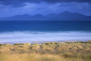 View across Sound of Taransay to North Harris hills in stormy weather , West Harris, Outer Hebrides, Scotland, UK, September 2014.  -  SCOTLAND: The Big Picture