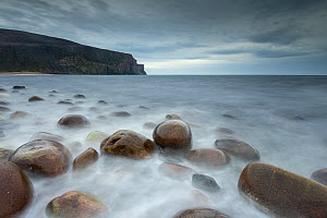 Rocks in sea at Rackwick Bay in stormy light, Hoy, Orkney, Scotland, UK, October 2014.  -  SCOTLAND: The Big Picture
