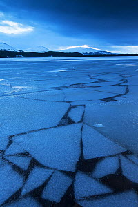 Frozen Loch Morlich at twilight with mountains in distance, Cairngorms National Park, Scotland, UK, January 2015.  -  SCOTLAND: The Big Picture