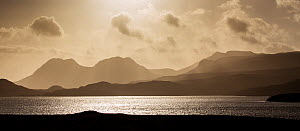 Silhouettes of hills over Loch Lurgainn, looking towards Ben Mor Coigach, Assynt, Sutherland, Scotland, UK, February 2015.  -  SCOTLAND: The Big Picture