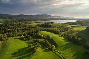 Aerial view over northern end of Insh Marshes National Nature Reserve to Loch Insh, Cairngorms National Park, Scotland, UK, June 2016.  -  SCOTLAND: The Big Picture