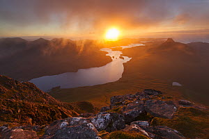 Loch Lurgainn and Stac Pollaidh from Cul Beag, at sunset, Assynt, Highlands, Scotland, UK, September 2013. - SCOTLAND: The Big Picture
