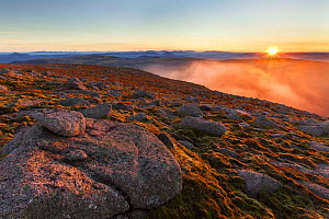 View from Braeriach at sunset, Cairngorms National Park, Scotland, UK, September 2013.  -  SCOTLAND: The Big Picture