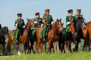 Horse riders at the Blutritt (the right of blood)  the largest European procession with about 3,000 riders, Weingarten, Baden-Wurtemberg, Germany. May 2016. - Kristel  Richard