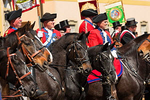 Horse riders at the Blutritt (the right of blood) the largest European procession with about 3000 riders, Weingarten, Baden-Wurtemberg, Germany. May 2016. - Kristel  Richard