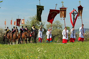 Priests and horse riders in processtion at the Blutritt (the right of blood)  the largest European procession with about 3,000 riders, Weingarten, Baden-Wurtemberg, Germany. May 2016. - Kristel  Richard