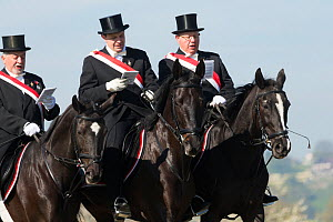 Men in top hats singing in the Blutritt (the right of blood), the largest European procession with about 3,000 riders, Weingarten, Baden-Wurtemberg, Germany. May 2016. - Kristel  Richard