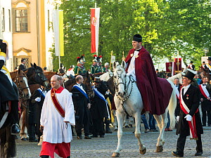Priest  riding horse in the Blutritt (the right of blood) is the largest European procession with about 3,000 riders, Weingarten, Baden-Wurtemberg, Germany. May 2016.  -  Kristel  Richard
