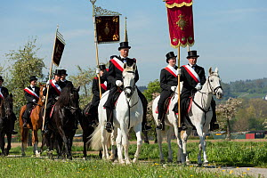 Officials at the Blutritt (the right of blood) the largest European procession with about 3,000 riders, Weingarten, Baden-Wurtemberg, Germany. May 2016. - Kristel  Richard