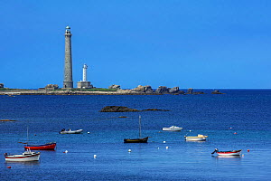 Lighthouse Phare de l'lle Vierge opposite the village of Lilia, tallest traditional lighthouse in the world, Plouguerneau, Finistere, Brittany, France, September 2015 - Philippe Clement