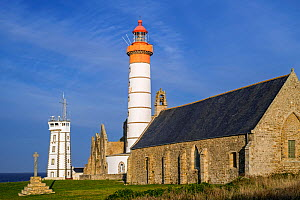 The Pointe Saint Mathieu with its signal station, lighthouse and abbey ruins, Finistere, Brittany, France, September 2015 - Philippe Clement