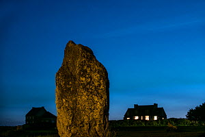 Megalithic standing stone at the Alignements de Lagatjar at night, Crozon, Camaret-sur-Mer, Finistere, Brittany, France, September 2015 - Philippe Clement