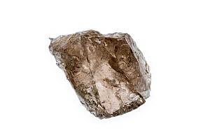 Smoky quartz, grey, translucent variety of quartz, a silicon dioxide crystal on white background  -  Philippe Clement