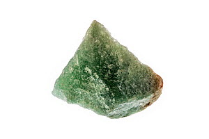 Aventurine, green quartz specimen - characterised by its translucency and presence of platy mineral inclusions - on white background - Philippe Clement