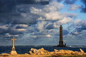 Lighthouse at the Cap de La Hague and monument in honor of the French Vendemiaire submarine crew, Cotentin peninsula, Lower Normandy, France, October 2015  -  Philippe Clement
