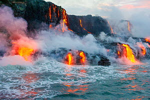 Lava flow from Kilauea Volcan flowing into the Pacific Ocean, Kalapana Coast, Big Island, Hawaii. August 2016. - Doc White
