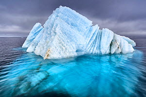 Natural ice sculpture floating at sea in Svalbard, Norway - Tony Wu