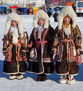 Nenets women competing in a traditional clothing competition during the reindeer herders' festival at Nadym. Yamal, Western Siberia, Russia - Bryan and Cherry Alexander