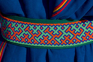 Close up of a Nenets man's belt with a traditional design made with beadwork. At the reindeer herders' festival at  Nadym. Yamal, Western Siberia, Russia - Bryan and Cherry Alexander