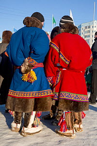 Nenets people in traditional costumes at reindeer herders' festival at Nadym. Yamal, Western Siberia, Russia - Bryan and Cherry Alexander