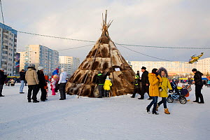 Nenets reindeer skin tent erected in the centre of Nadym as part of the reindeer herders' festival. Yamal, Western Siberia, Russia - Bryan and Cherry Alexander