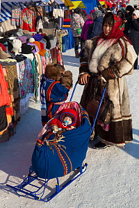 Nenets woman pushing her baby in a cradle on skiis at the reindeer herders' festival in Nadym. Yamal, Western Siberia, Russia. - Bryan and Cherry Alexander